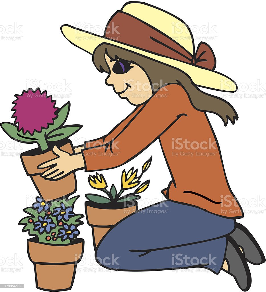 planting flower royalty-free stock vector art