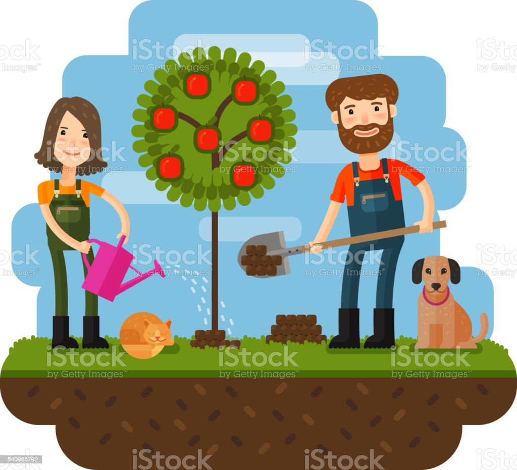 Planting of the tree, orchard, farmer, farm. Flat design illustration vector art illustration