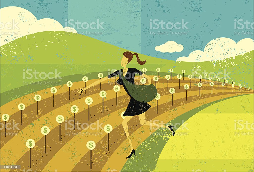 Planting seeds for financial growth vector art illustration