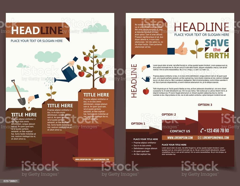 Planting tree brochure flyer vector art illustration