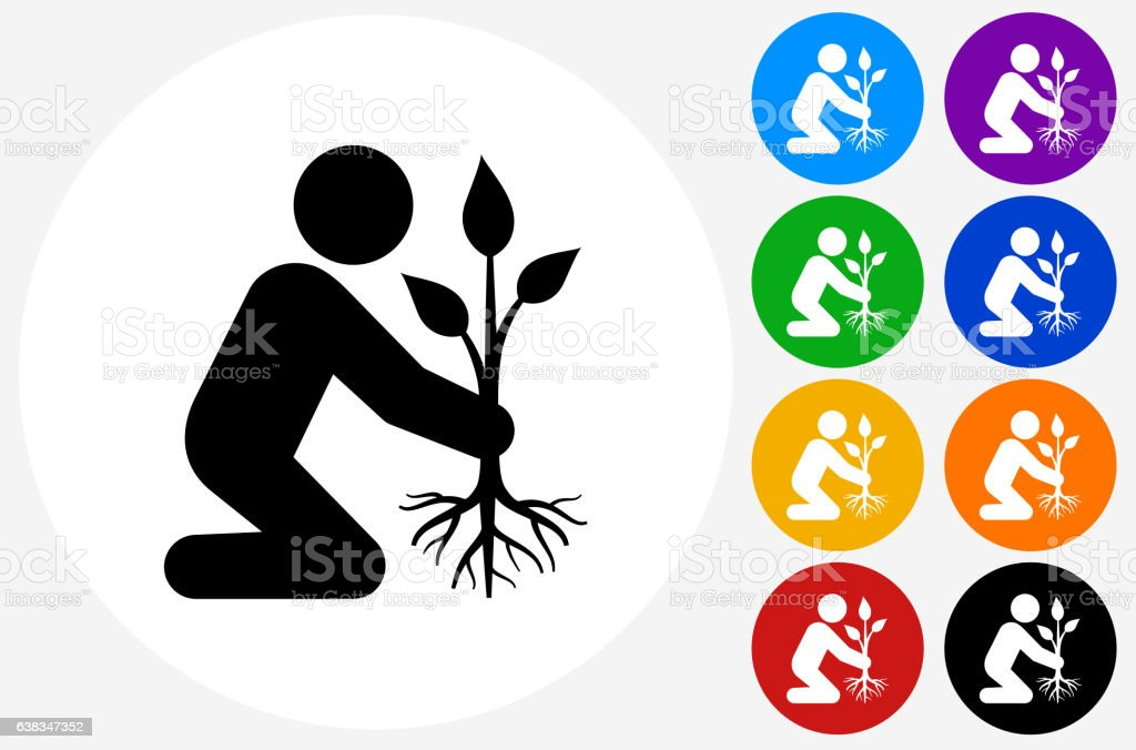 Planting Tree Icon on Flat Color Circle Buttons vector art illustration