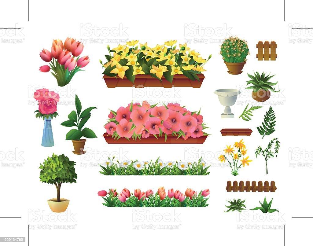 Plants and flowers elements vector art illustration