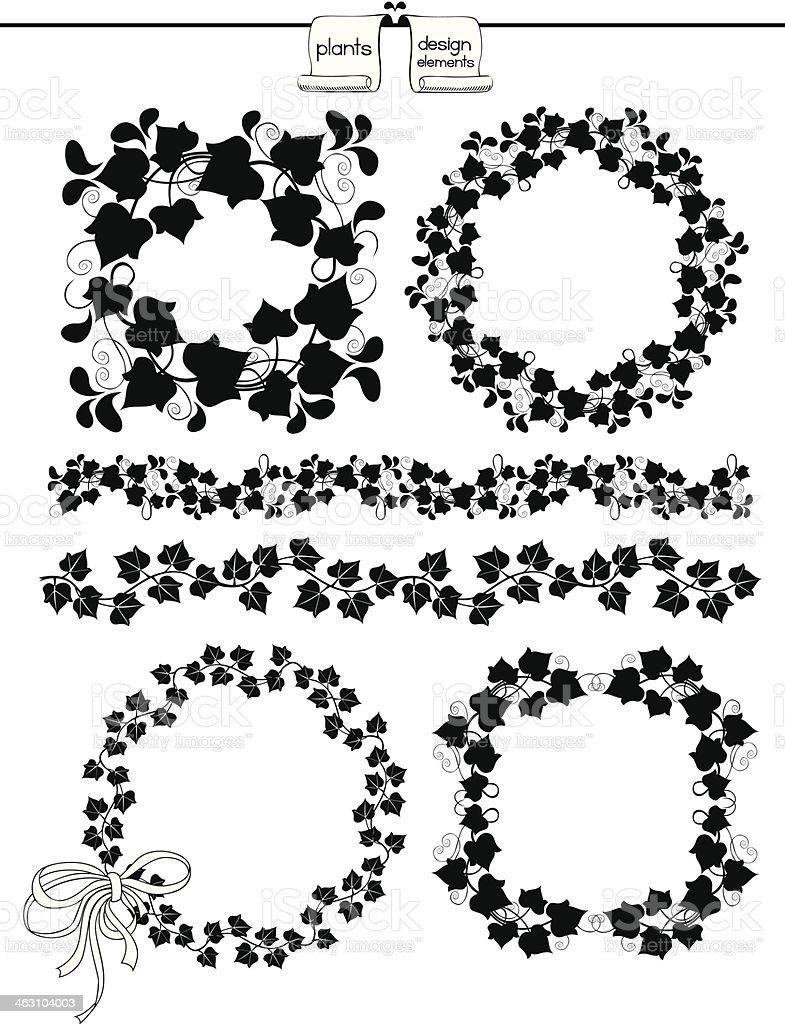 Plants Design Elements vector art illustration