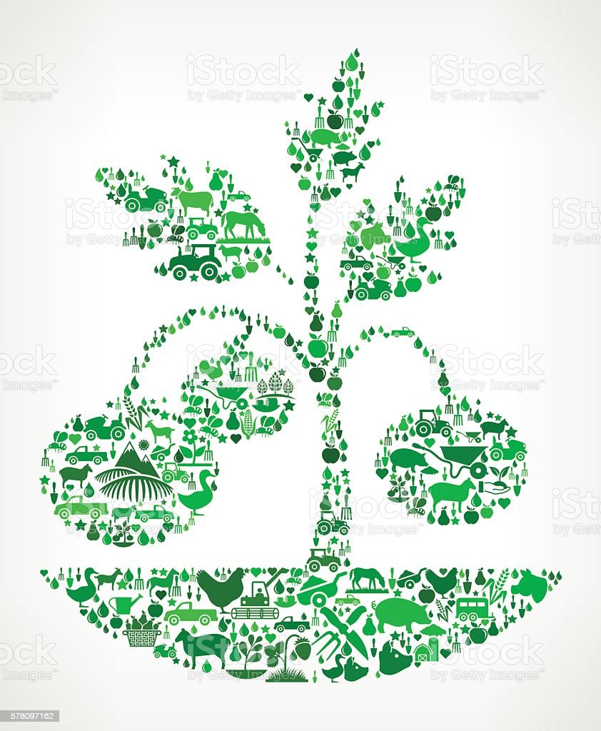 Plants Farming and Agriculture Green Icon Pattern vector art illustration