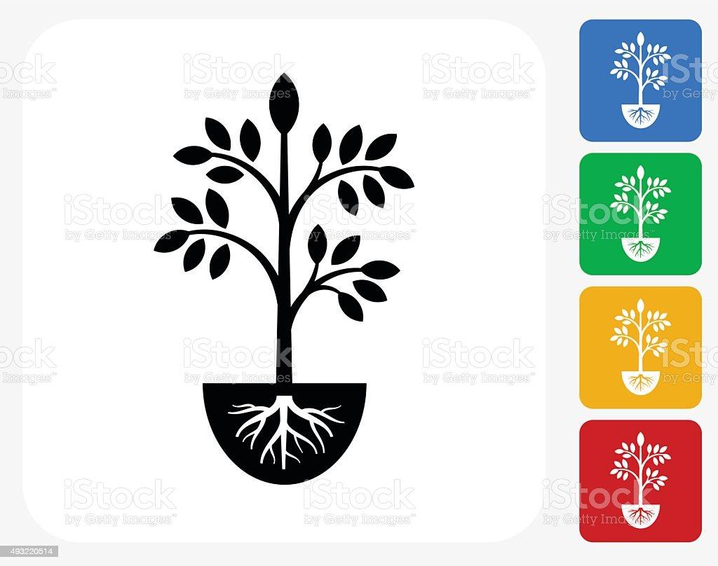 Plants Icon Flat Graphic Design vector art illustration