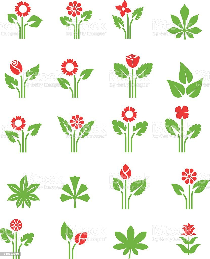 Plants icon set vector art illustration