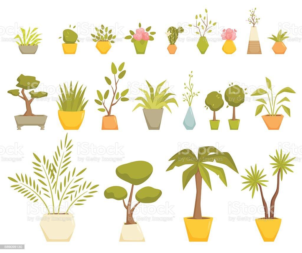 Plants in pot set vector art illustration