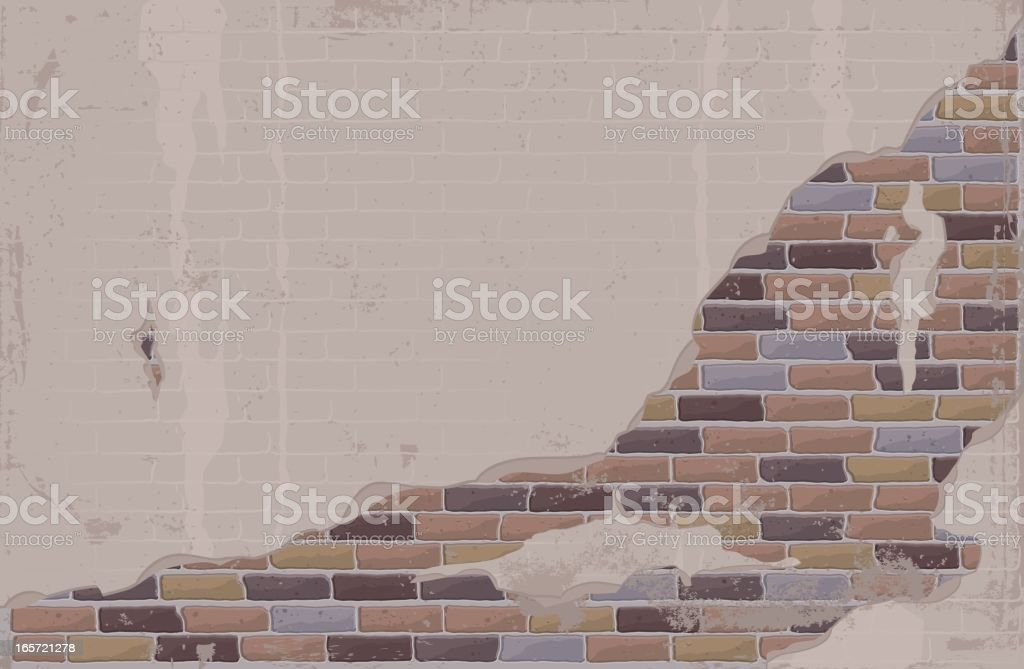 Plaster and Brick Wall vector art illustration
