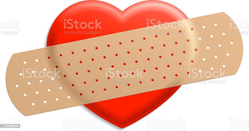 Plaster and heart vector art illustration