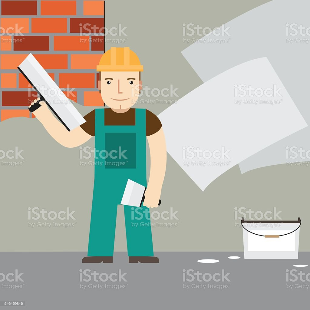 Plasterer at work. Vector. vector art illustration