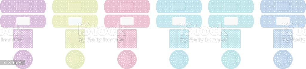 Plasters Colors Adhesive Bandage Collection vector art illustration