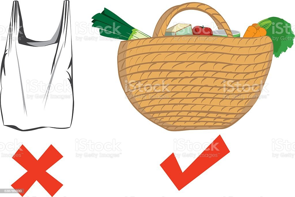 Plastic bag ban vector art illustration