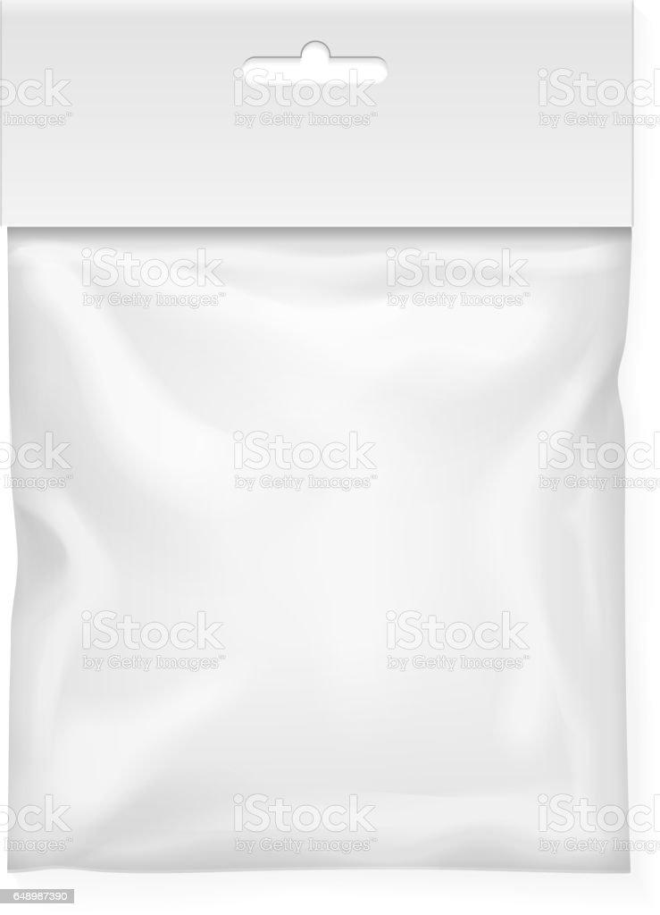 Plastic bag template. White blank packaging with hang slot. Mock up Vector illustration vector art illustration