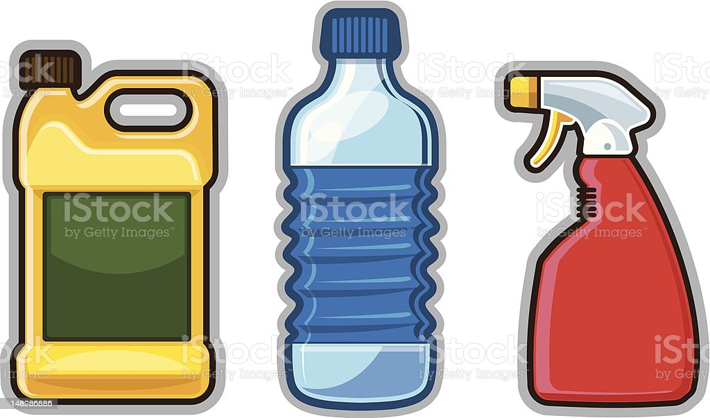 Plastic Bottles and Containers royalty-free stock vector art