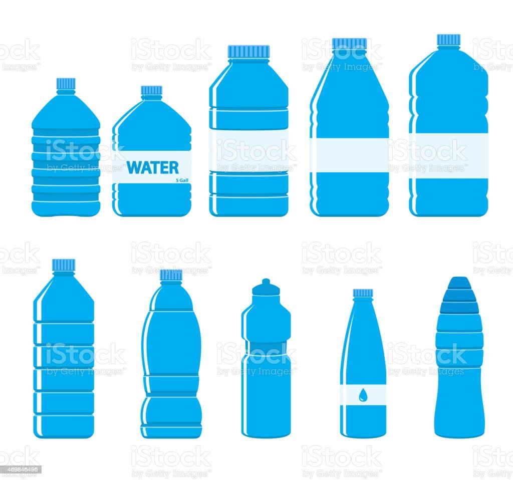 Plastic Bottles Icon Set on White Background vector art illustration
