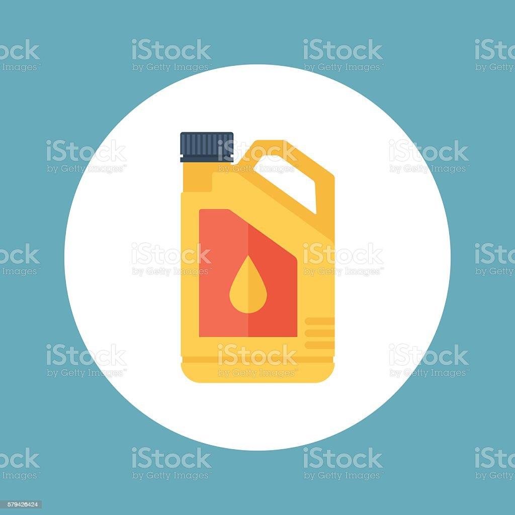 Plastic canister with motor, engine oil. Vector illustration. vector art illustration