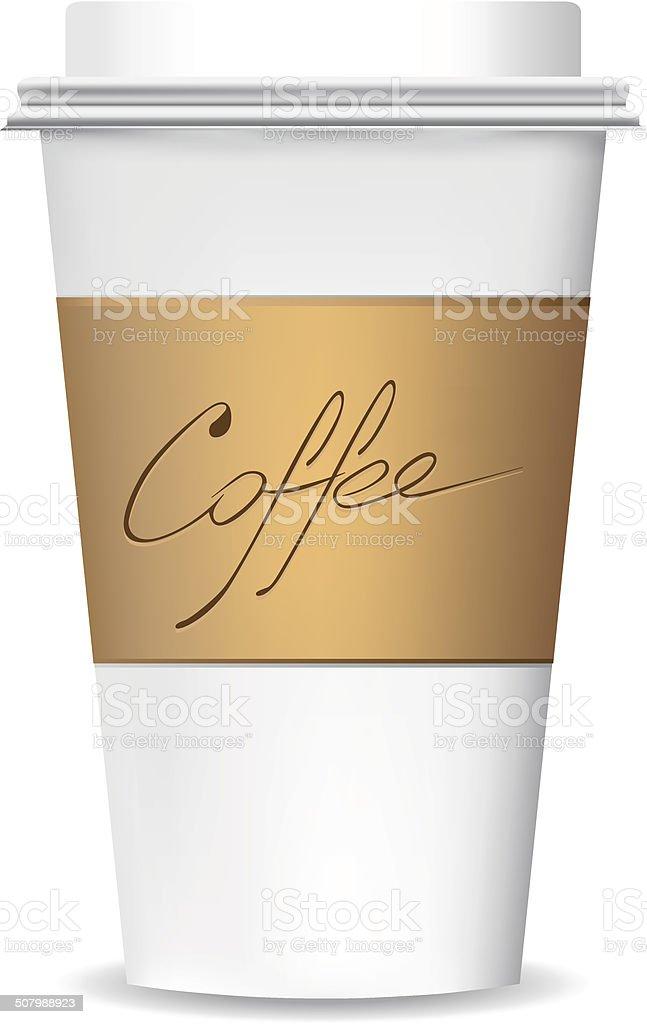 Plastic coffee cup vector art illustration