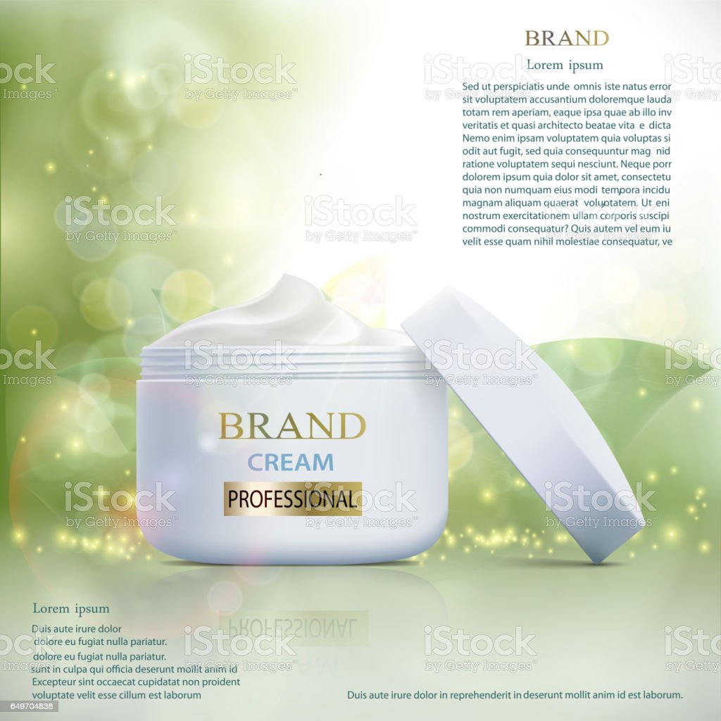 Plastic container with cosmetic cream on a natural background. Skin Care ads template. vector art illustration