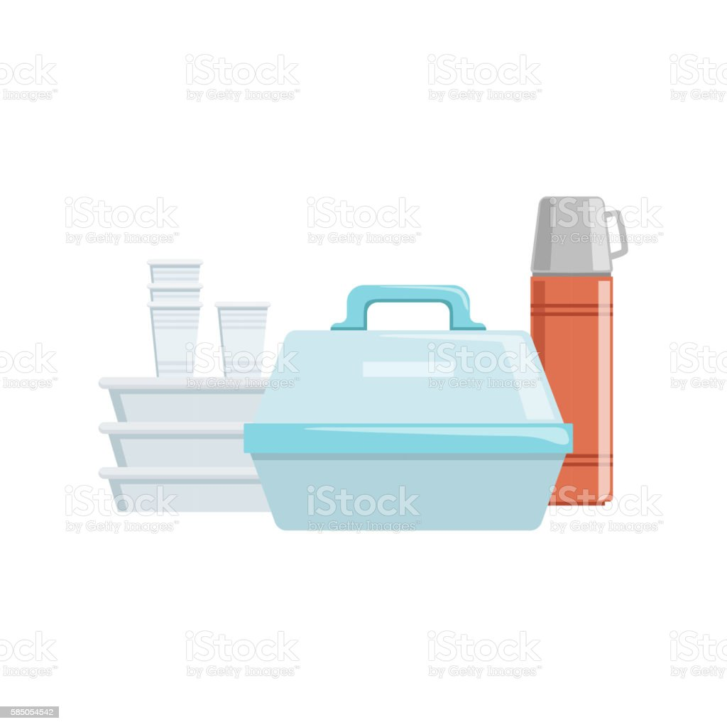 Plastic Containers And Water Thermos Set Of Camping Equipment vector art illustration