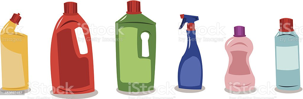 Plastic containers with blank tags vector art illustration