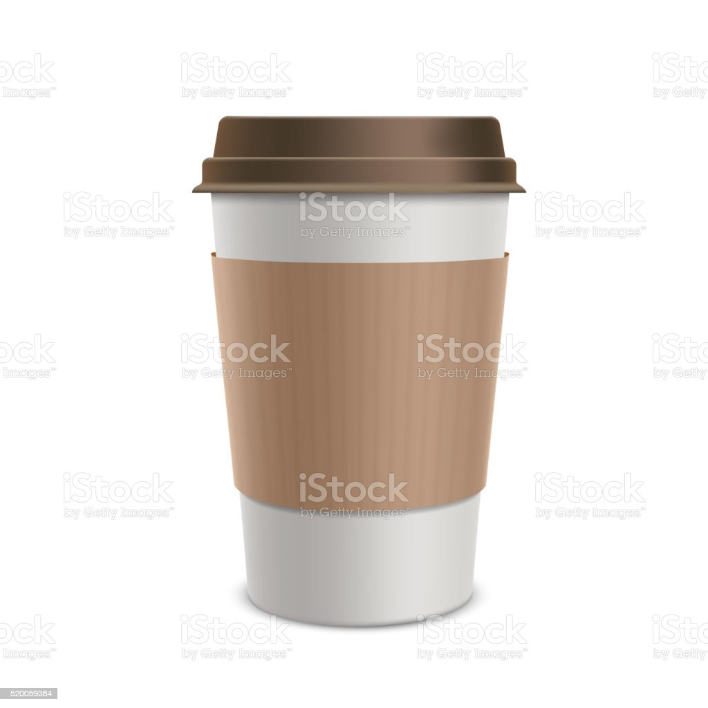 Plastic disposable cups of coffee. Design packaging. vector art illustration