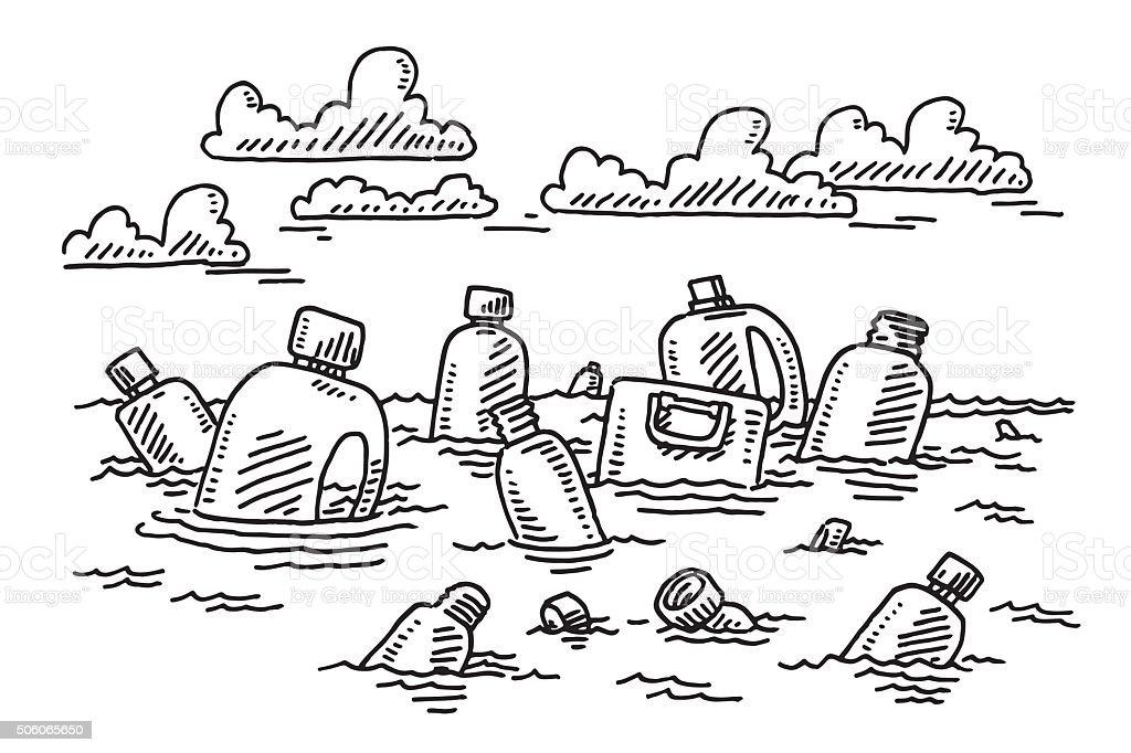 Plastic Garbage Floating In Ocean Drawing vector art illustration