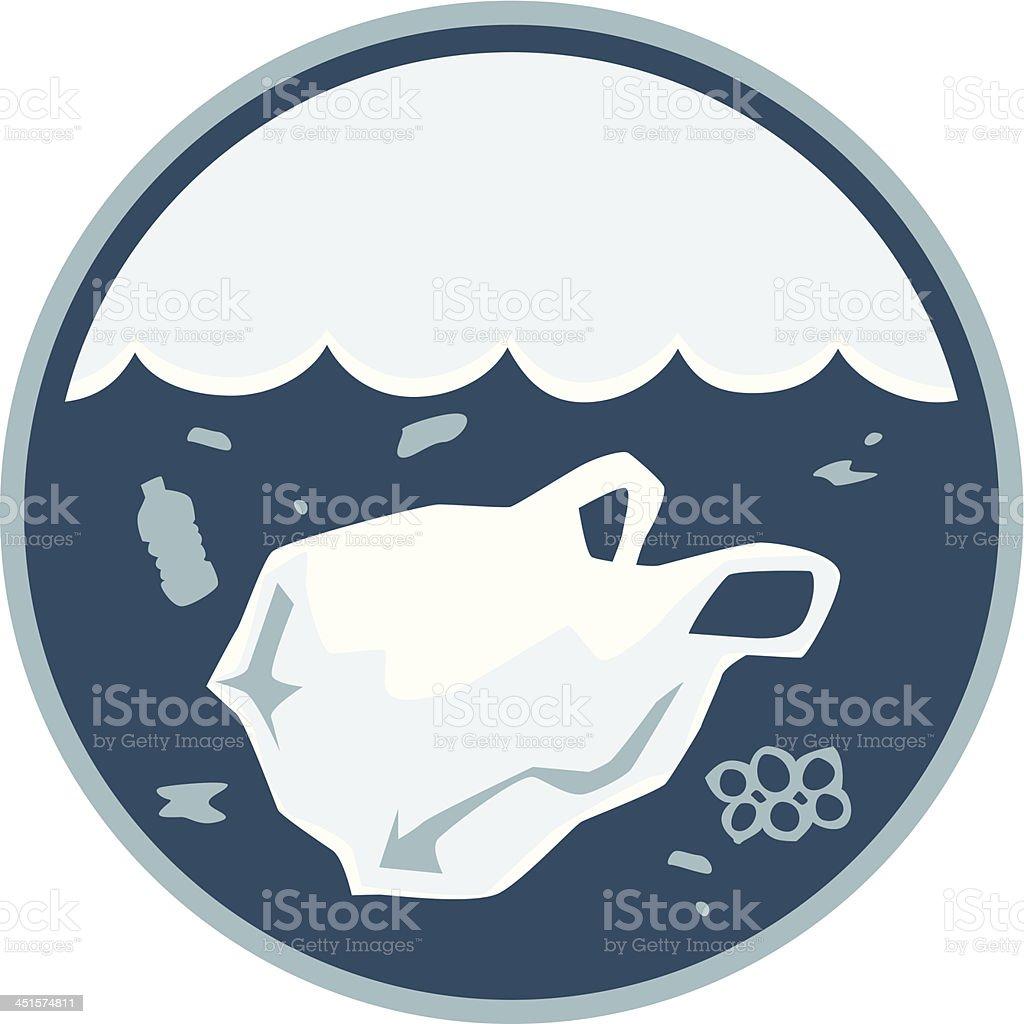 plastic ocean pollution vector art illustration