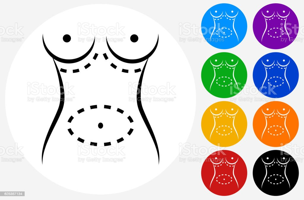 Plastic Surgery Icon on Flat Color Circle Buttons vector art illustration