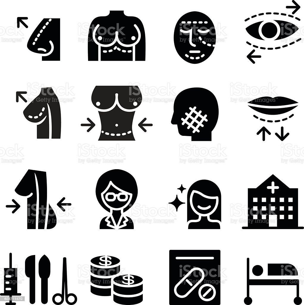 Plastic surgery icon set vector art illustration