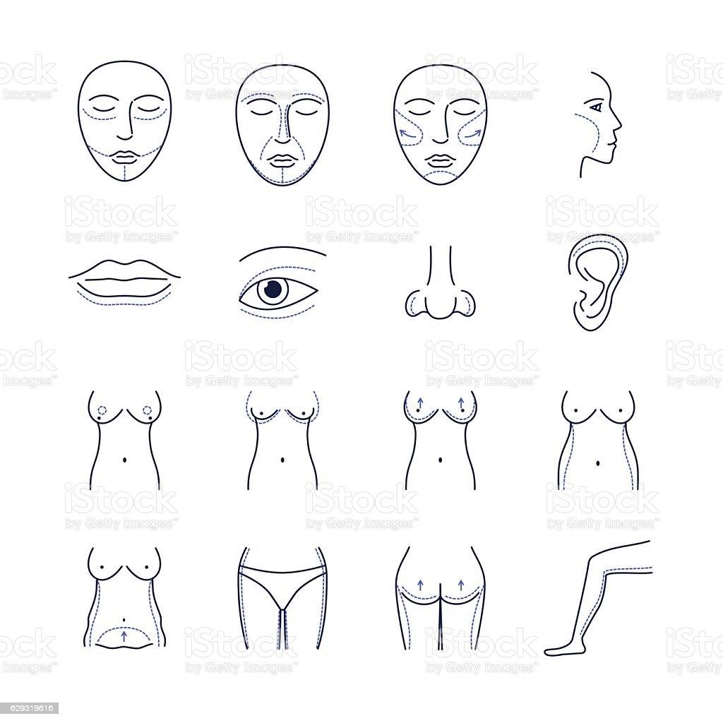 Plastic Surgery Icons Thin Line Set. Vector vector art illustration