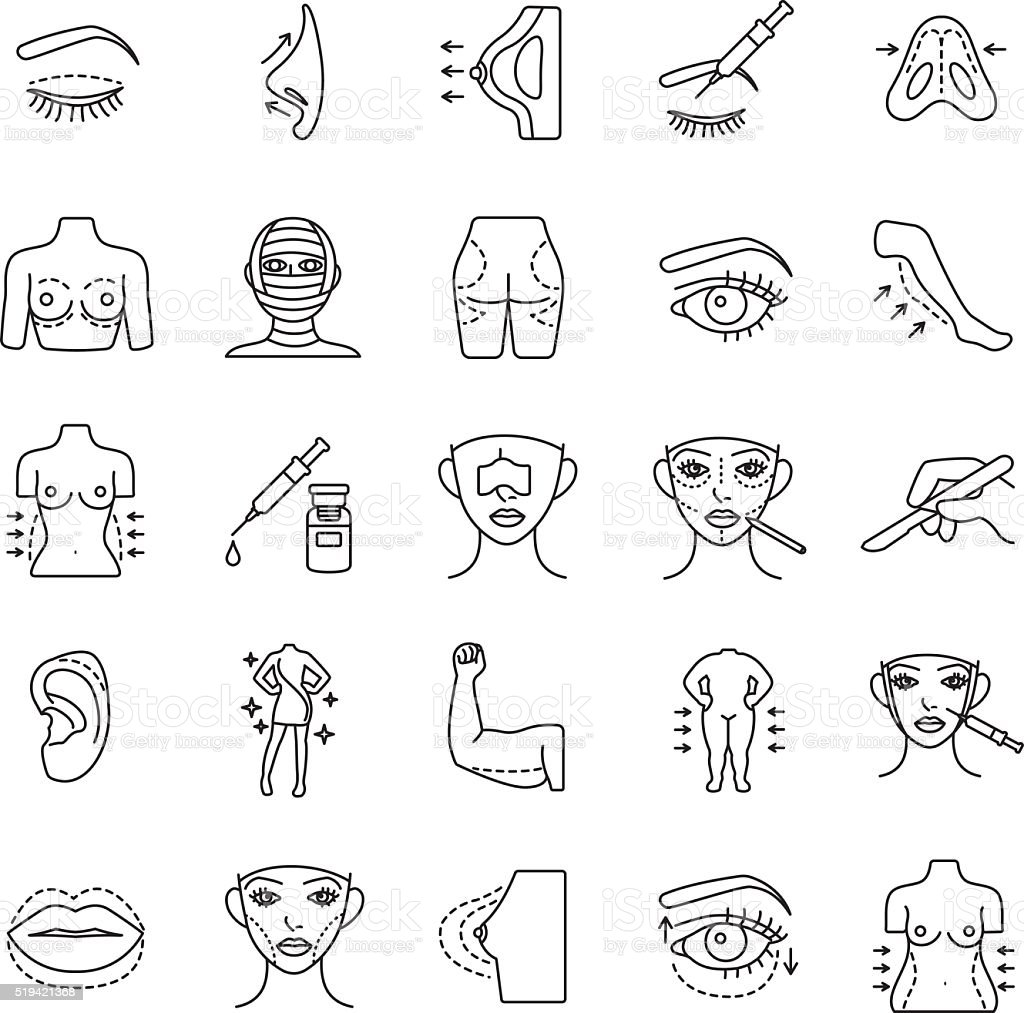 Plastic surgery outlines vector icons vector art illustration
