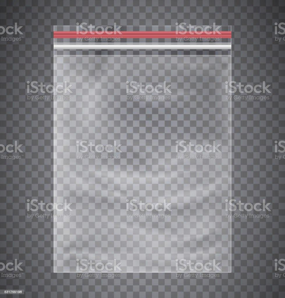 Plastic transparent bag with a closing strip. vector art illustration