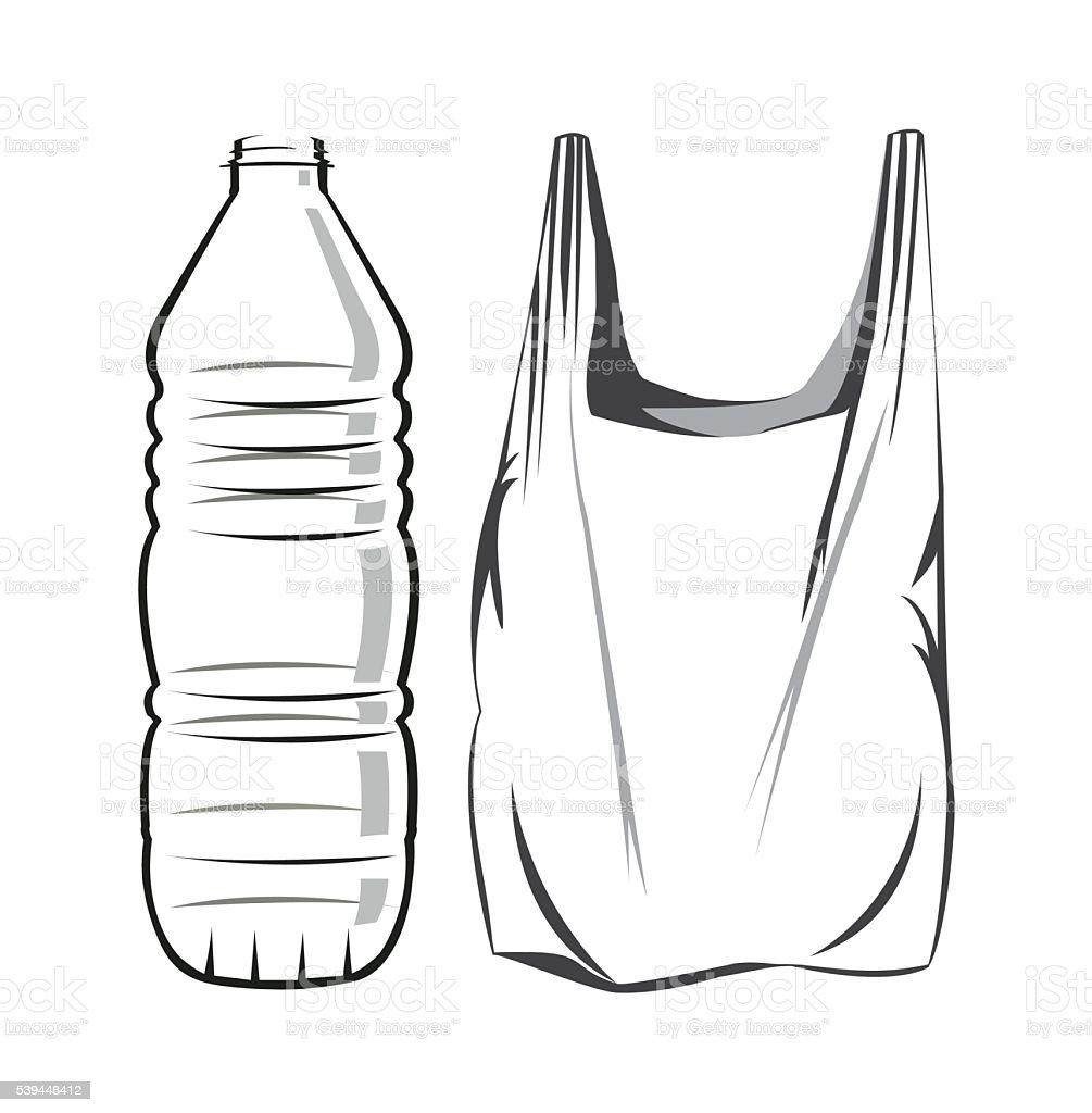 Plastic waste vector art illustration