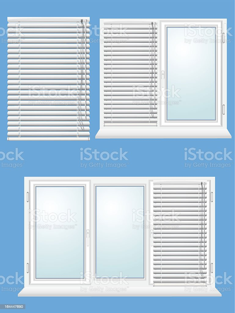 plastic window with jalousies vector art illustration