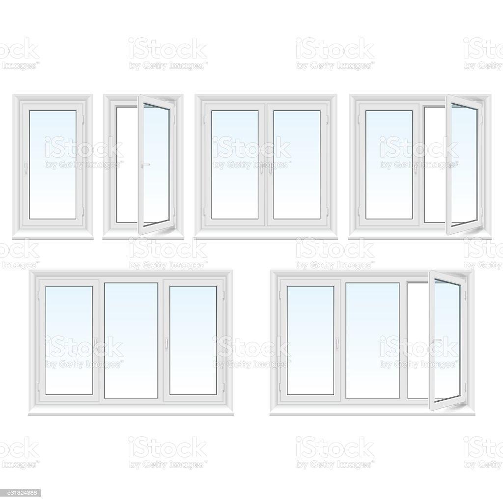Plastic windows set vector art illustration