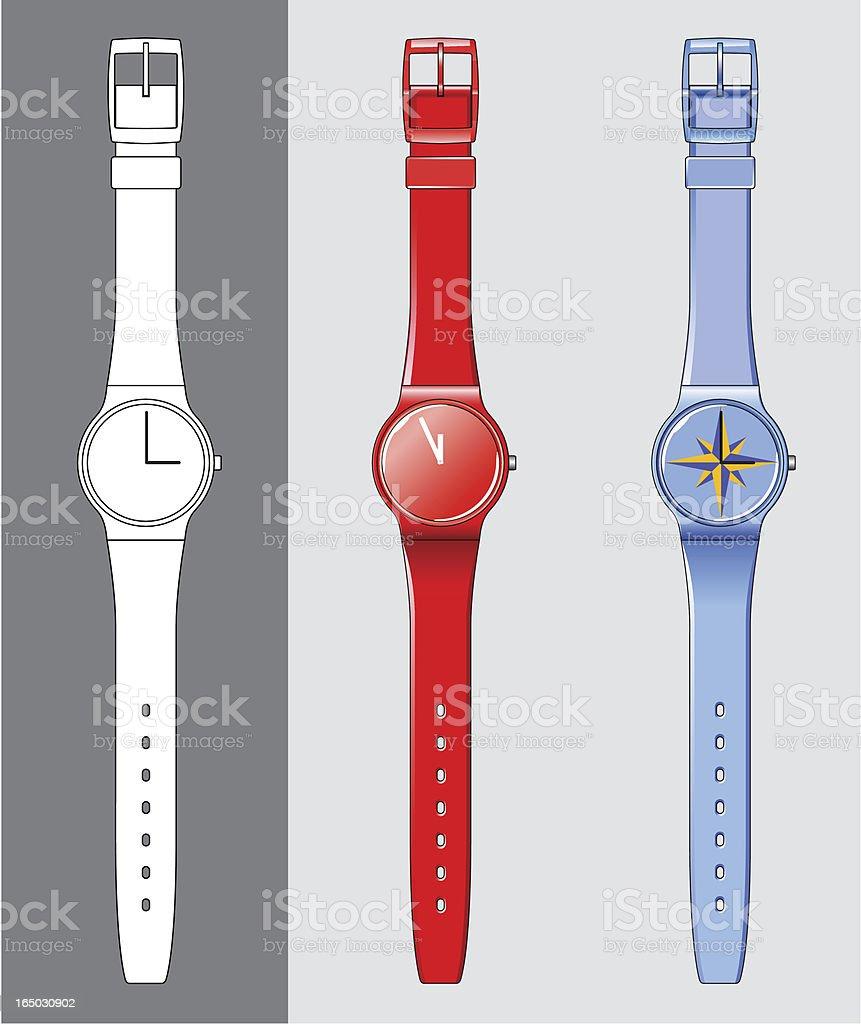 plastic wristwatch royalty-free stock vector art