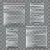 Plastic zipper bag vector template