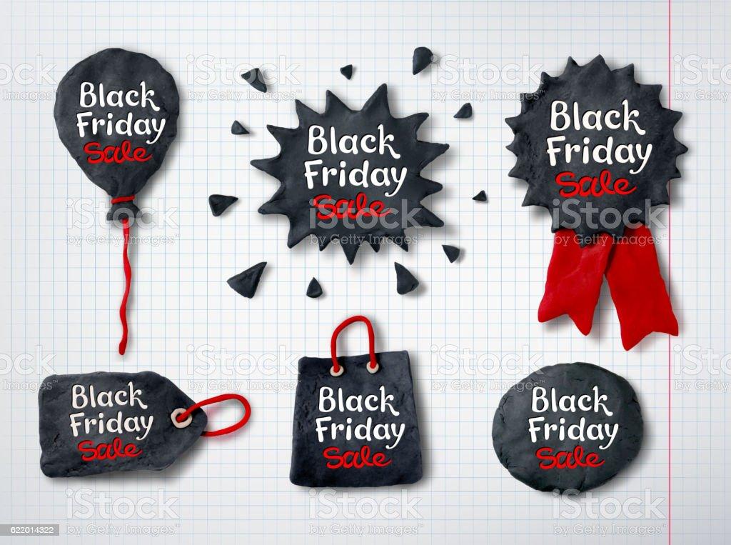 Plasticine Black Friday banners vector art illustration