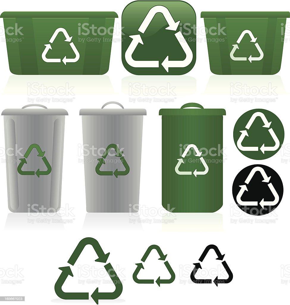 Plastik Recycling-Abfalleimer Set Symbole-Grün, Weiß, Grau Lizenzfreies vektor illustration