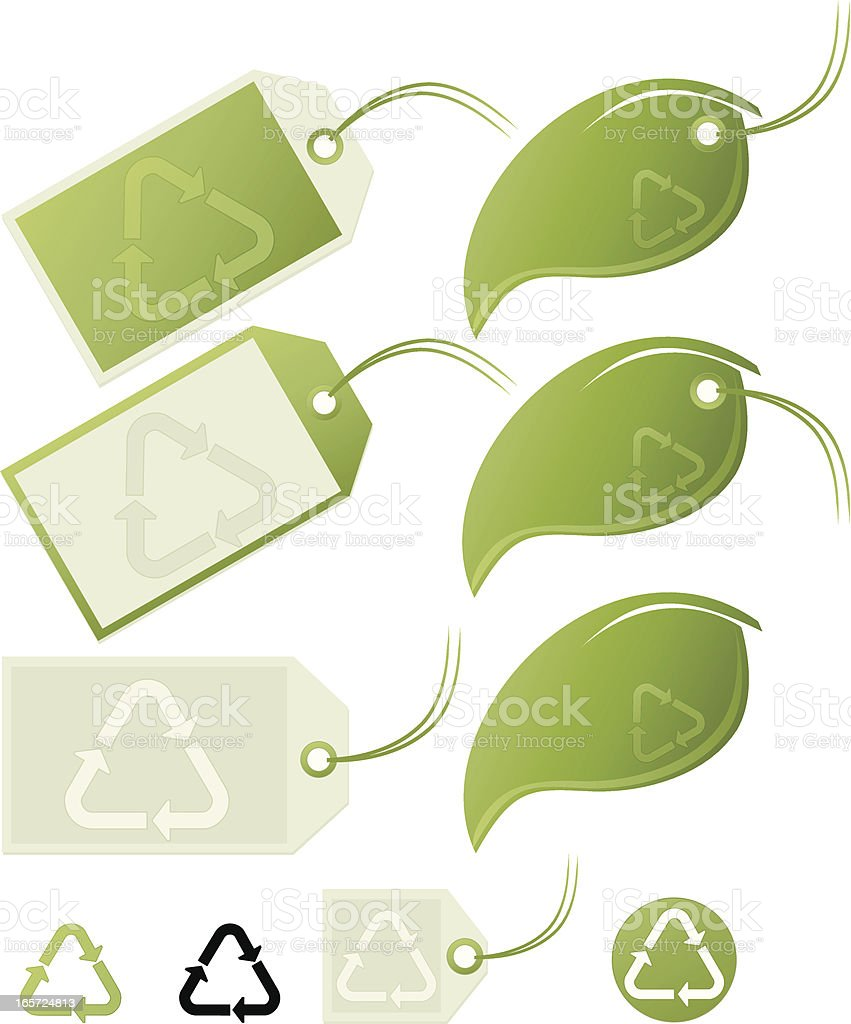 Plastik Recycling Symbole: Green Leaf Etiketten, Tags-Set Lizenzfreies vektor illustration