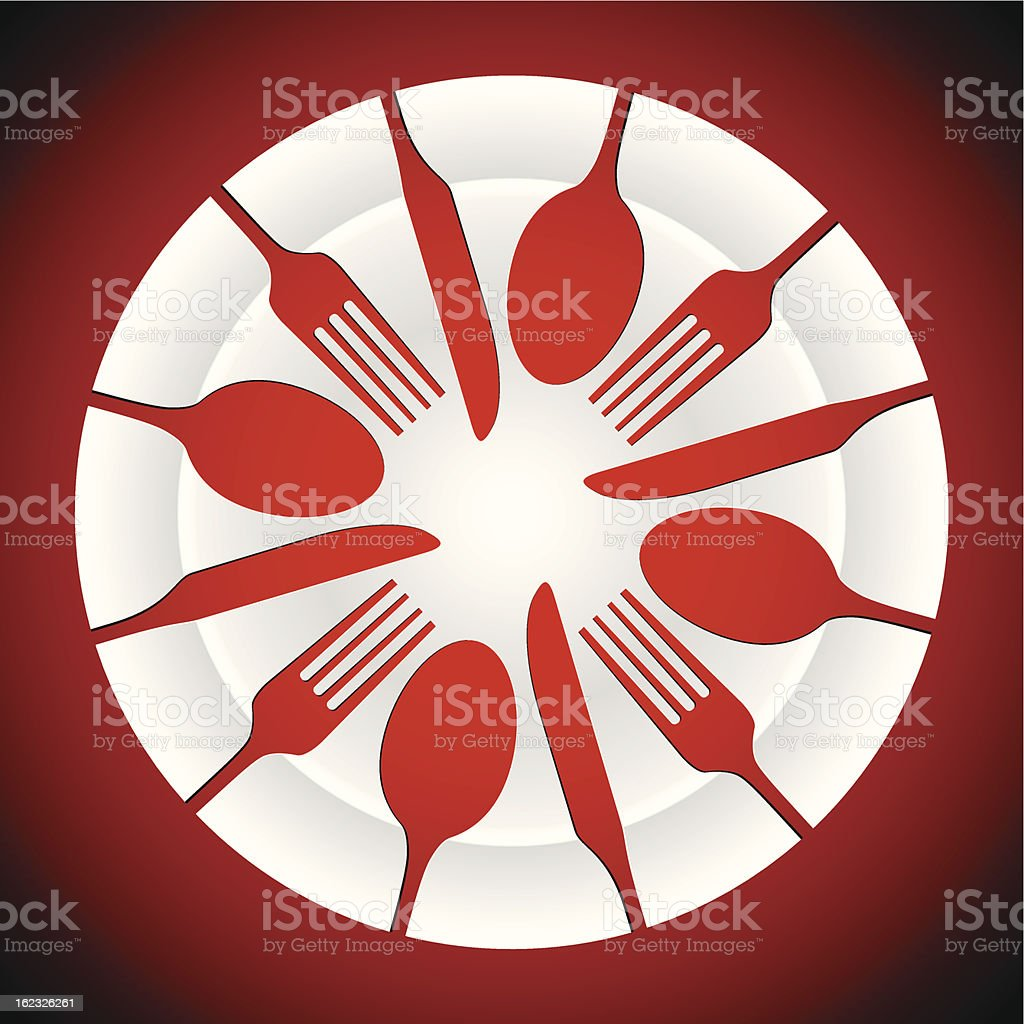 plate and cutlery shapes royalty-free stock vector art