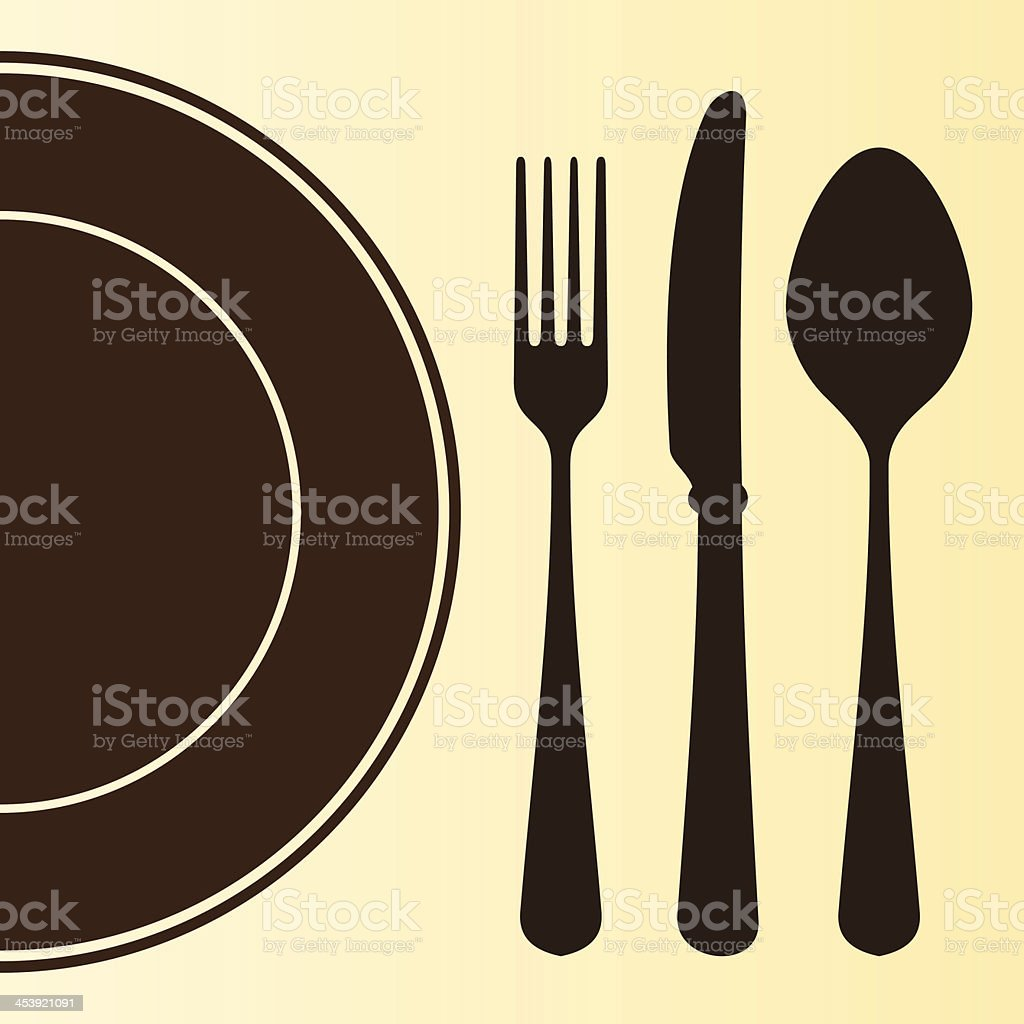 Plate and Cutlery vector art illustration
