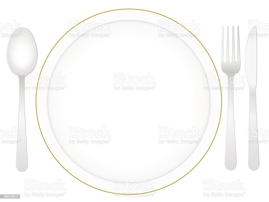 plate and cutlery royalty-free stock vector art