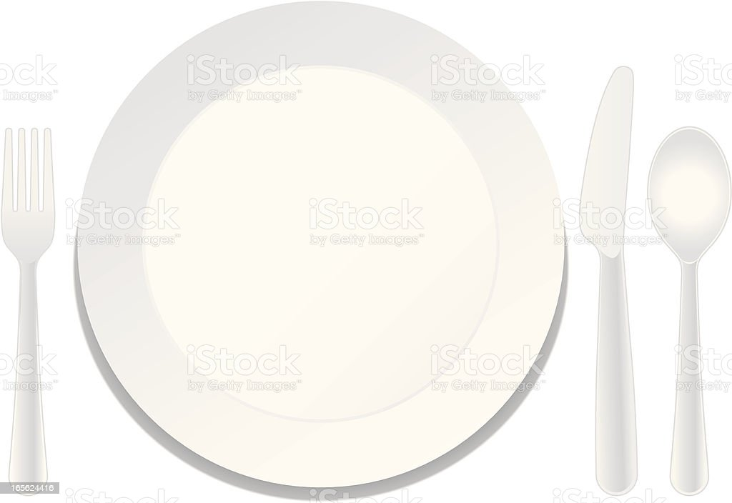 Plate and Utensils royalty-free stock vector art