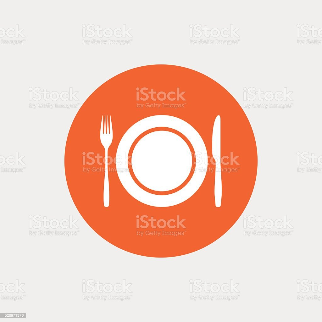 Plate dish with fork and knife. vector art illustration