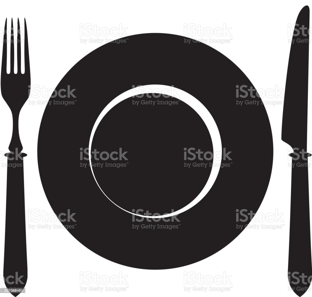 Plate, fork and knife icon. vector art illustration