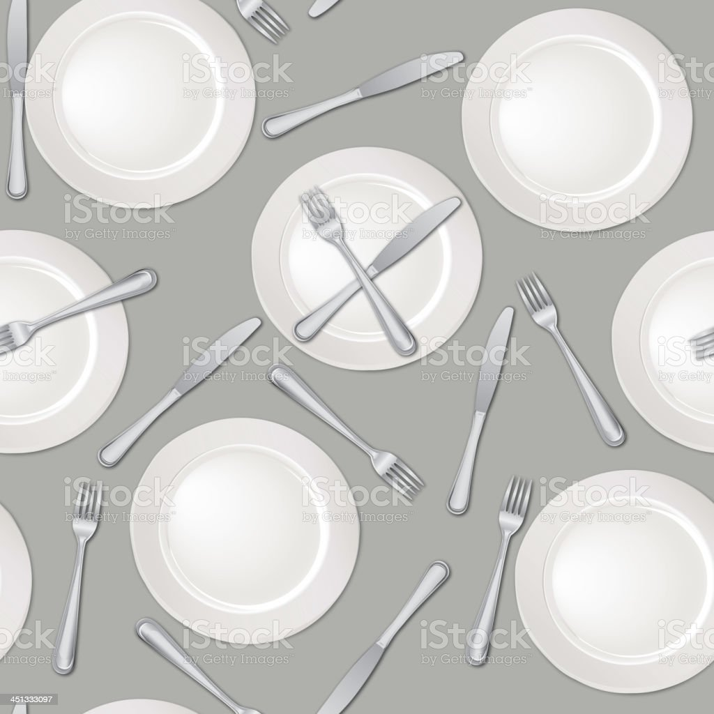Plate, fork and knife seamless background royalty-free stock vector art