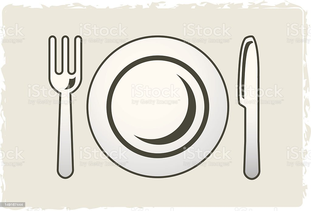 Plate, fork and knife royalty-free stock vector art