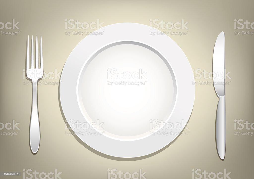 plate fork knife vector art illustration