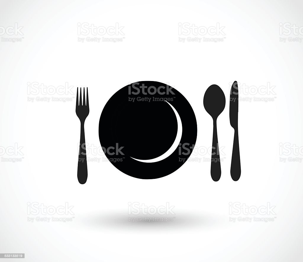 Plate, fork, spoon and knife icon set vector illustration vector art illustration